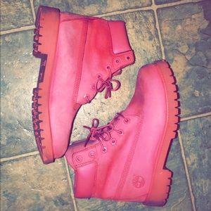 All pink Timberlands